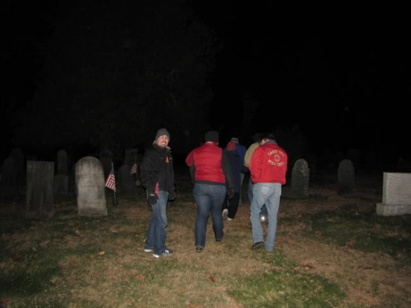 Happy Granite State Skeptics go on Halloween Eve to see if Mary rises to ride in her carriage.  She stayed put.