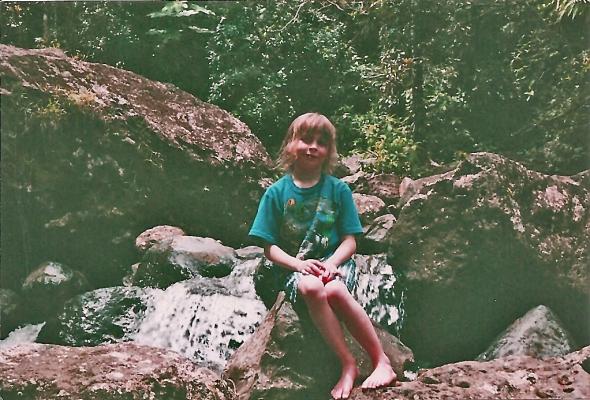 Aynsley looking for the chupacabra , El Yunque.