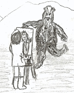 My nightmare, and honestly, this was a quick sketch...it's horrible.  What would I do under read Bigfoot viewing conditions?