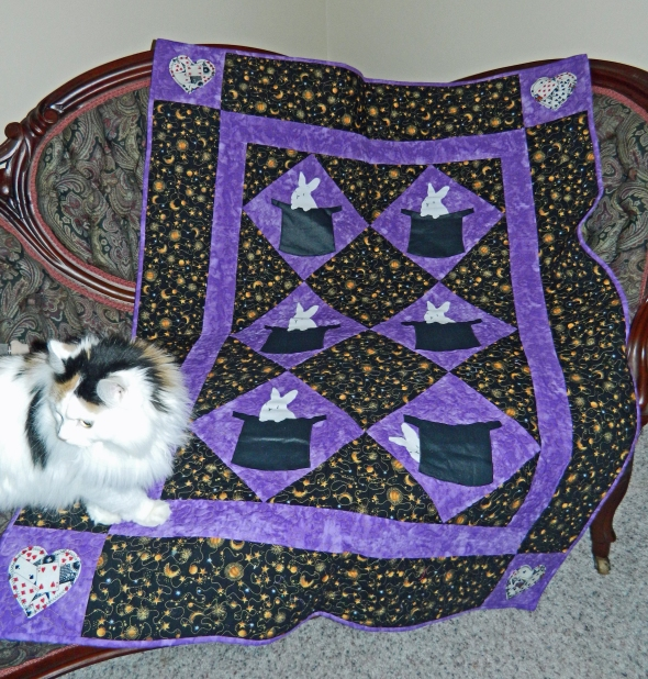 My cat Moxie, named after Moxie Crimefighter, enjoys the quilt.