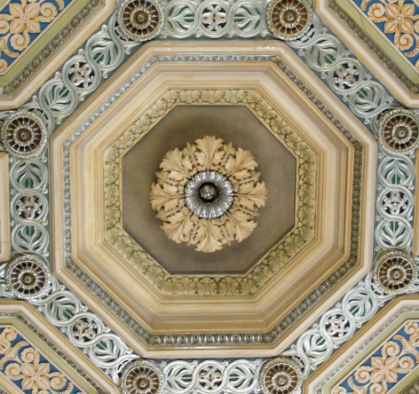 Ceiling from one room of the library.  A beautiful home for knowledge.