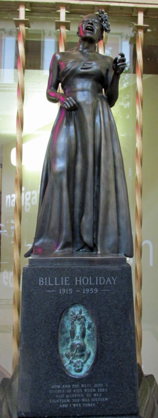 The statue includes Billie Holiday as a newborn, and the inspiring adult she grew up to be.