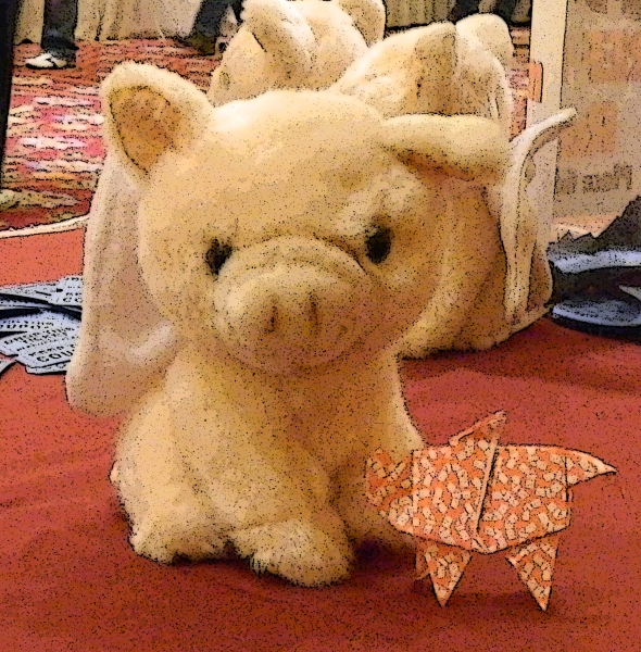 A wee stuffed piggie and an origami pigasus