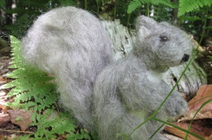 Much improved squirrel.  Not great as far as needle felting goes, but I'm learning!