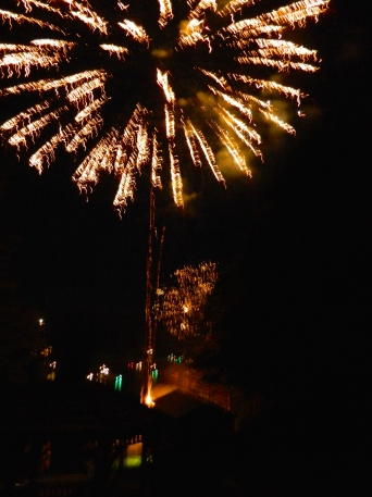dueling fireworks, from both ends of the lake.