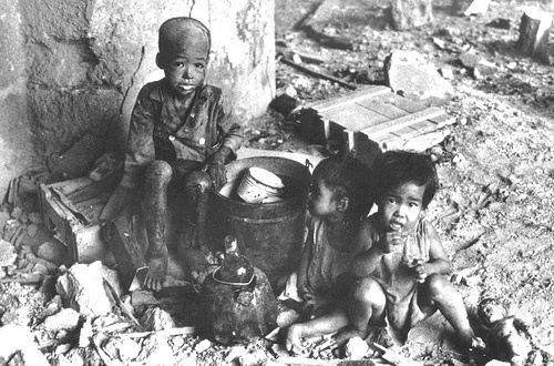 Filipino children bombed out of their home during WWII. Tough memories.