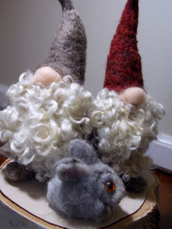 all local wool, and some angora rabbit wool also.  hand dyed and a $8 stump for them to gather on.