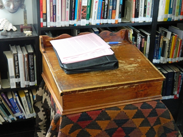 A rather neat desk that now belongs to a terrific skeptic, and there is a previous owner that has a tie in to number .....